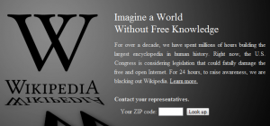 Wikipedia protesting SOPA in SOPA Blackout