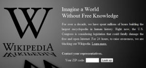 Wikipedia protesting SOPA in SOPA Blackout