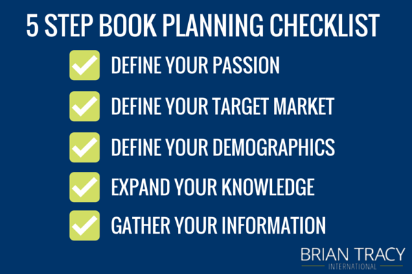 checklist shows how to start writing a book in 5-steps