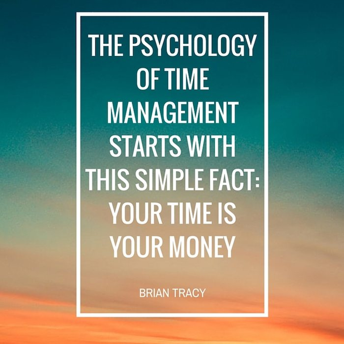 time management is money, quote by brian tracy with sunset
